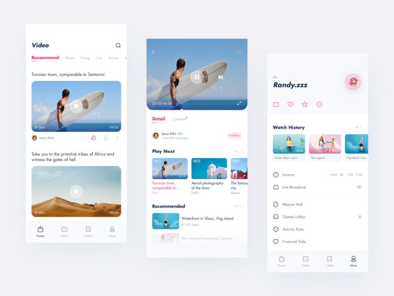 Video related app video app design clean pink ui