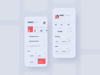 Neumorphism UI-list app