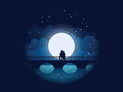 Shot 2 night scene star couple bridge moon night