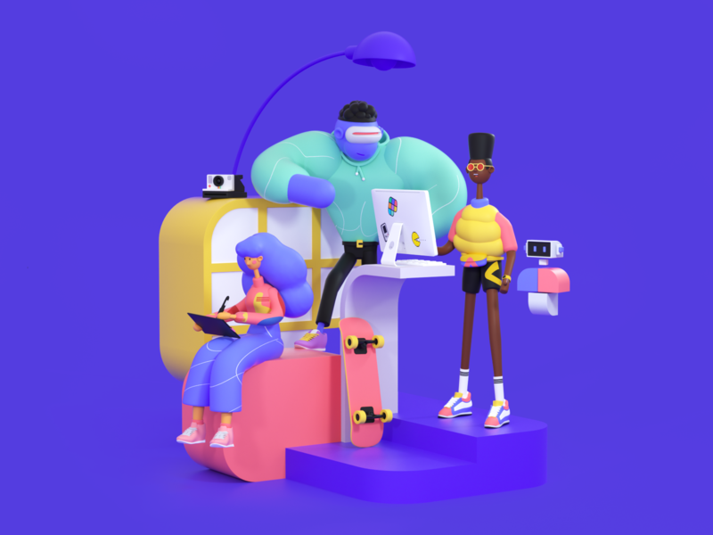 Polywork Trio coworking office crew branding agency workspace c4d octane characterdesign character colors startup branding illustration 3d