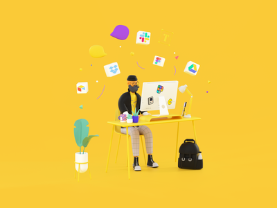 The hipster at his desk workspace octane worker man illustration coworking colors desk hipster characterdesign character c4d agency branding