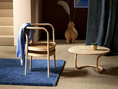 Anouk's wood chair interior design interiordesign interiors interior interior decor setup octanerender wood chair chair octane cinema4d c4d