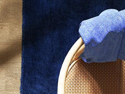 Anouk chair's details interior design interiors interiordesign interior wood carpet wood chair jean cloths marvelous designer c4d