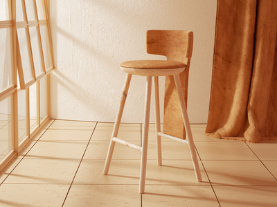 Warm place chair monochrome stool windows room photoshop octanerender octane curtains interior design wood leather 3d artist adobe design cinema4d c4d 3d