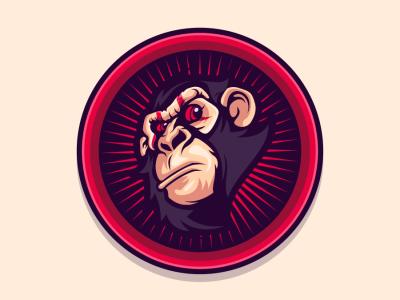 monkey emblem cool illustration design vector brand forsale sport logo monkey logo monkey
