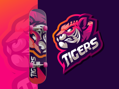 TIGERS bold gaming illustration design vector brand forsale sport logo tigers