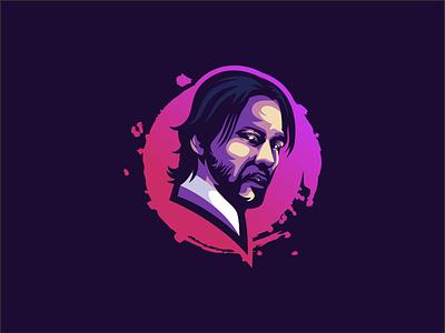 Keanu Reeves illustration emblem design vector brand forsale sport ui 3d branding logo motion graphics graphic design animation keanu reeves