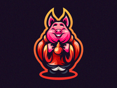 Pig app gamer game vintage typography sale bold animal branding illustration cool design gaming emblem vector icon brand forsale sport logo