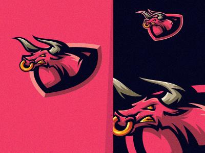 Bull app web lettering branding vintage gamer sale bold animal illustration game cool gaming design vector emblem brand forsale sport logo