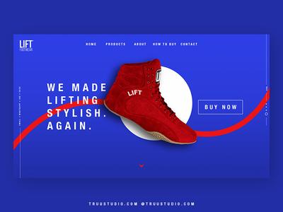 Lift Footwear - UI experiment branding web design webdesign web site red vibrant blue ux ui shoes