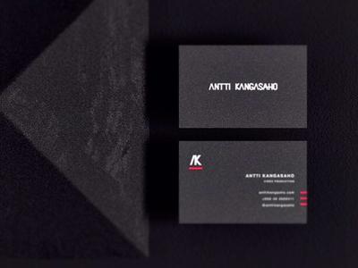 Antti Kangasaho Identity business cards dark logo branding visual identity