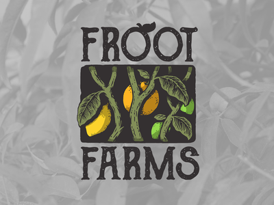 Froot farms logotype art illustration woodcut citrus farm logo