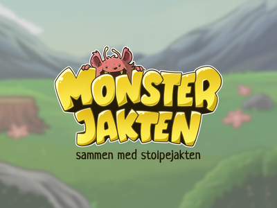 Monsterjakten Logo logo design vector illustration artwork cute kids app kids art game