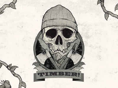 Timber! design illustration type typography mono skull label logo vintage