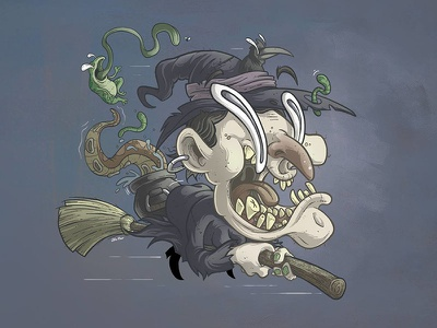 Witch Character photoshop digital art illsutration design character silly lowbrow cartoon stimpy ren witch