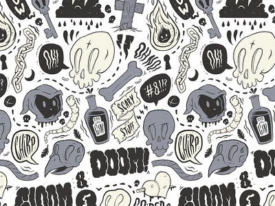 Doom And Gloom skull typography graphic design drawing illustration inkblot lowbrow pattern