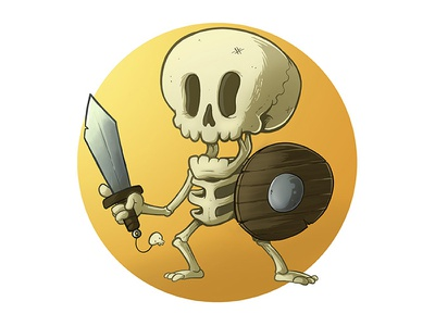 Bony Brawler cut skull allanohr photoshop digital design illustration character cartoon toon skeletoon skeleton