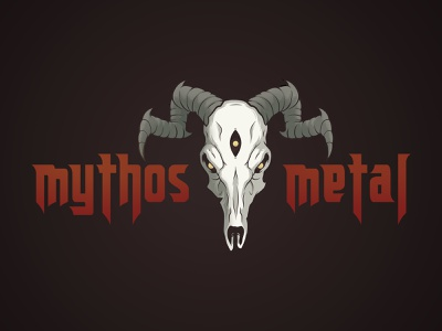 Mythos Metal Logo metal skull type art illustration brand logo typograph