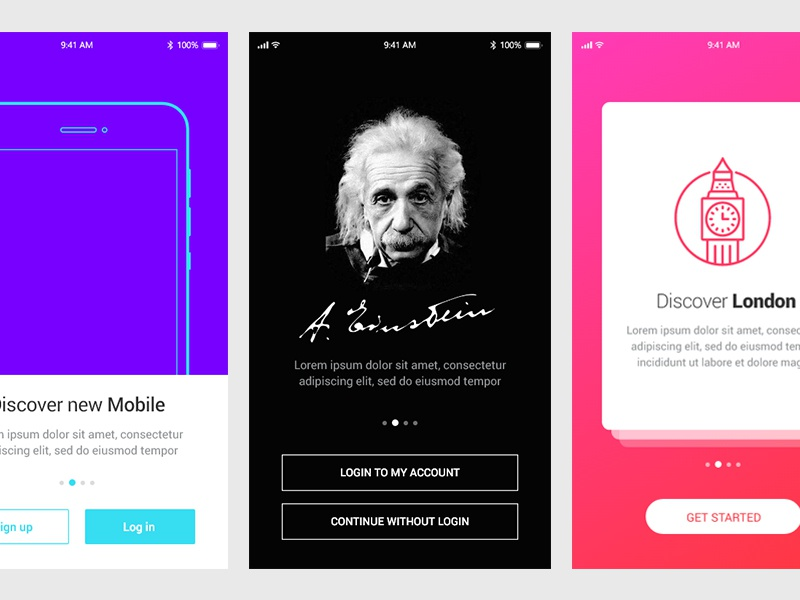 5 Walkthroughs - Adobe XD Freebie xd ux ui freebie free clean walkthroughs app adobe xd