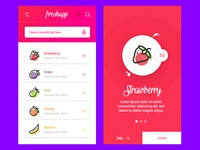 Fresh App -  Freebie App Fruits and Vegetables Calories clean design sketch pear grape strawberry dashboard ui design fruits adobe xd freebie app calories