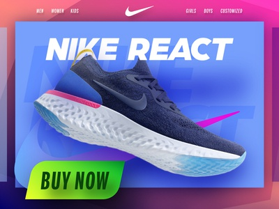 Nike React Product Design page Concept ux ui free colorful shoes hero banner header landing product react nike