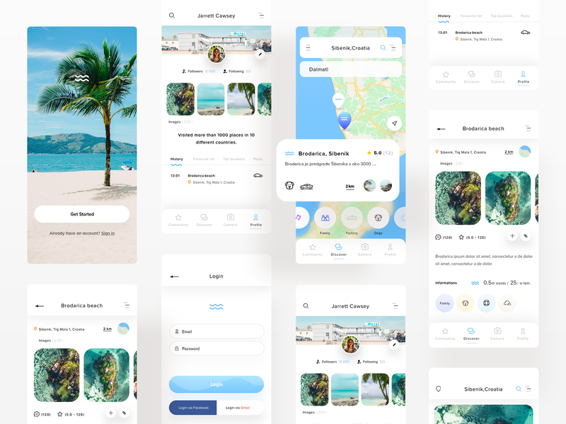WeSwim - Mobile App mobile app beaches swim swimming mobie mobile ui uiux ux userinterfacedesign design webdesign ui