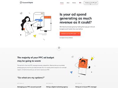 Coconut Digital - Website Design + Illustrations (live) illustrations landingpage webdesigner userinterfaces web ux uiux design webdesign ui