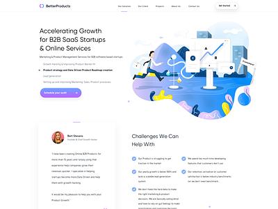 BetterProducts Landing Page + Illustrations webdesigner illustration userinterfaces web ux uiux userinterfacedesign design webdesign ui