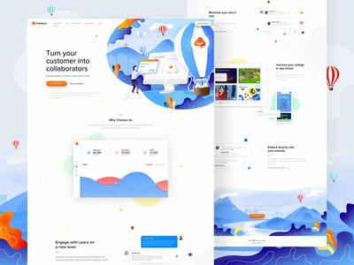 Feedture app - landing page, illustrations, logo