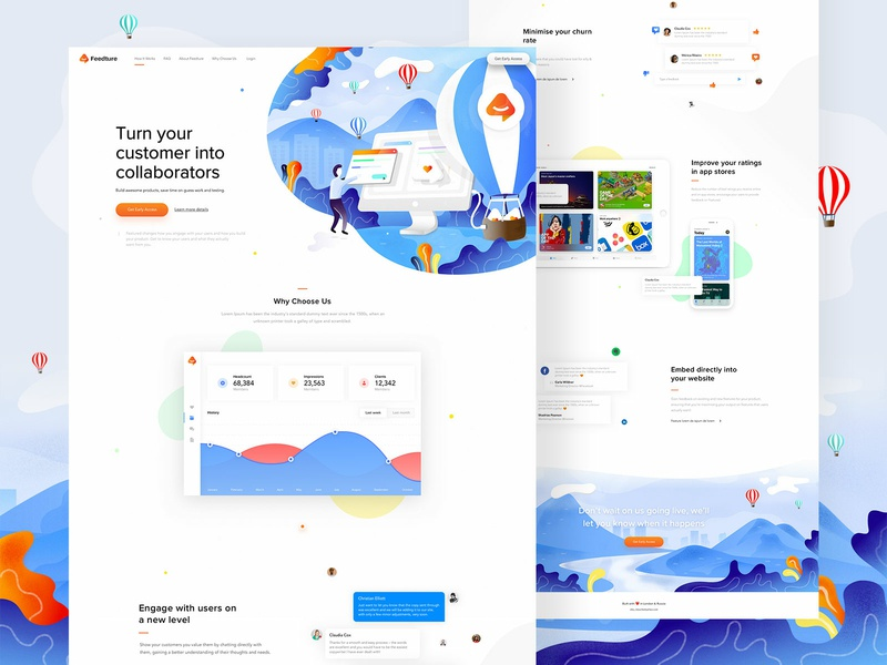 Feedture app - landing page, illustrations, logo landingpagedesign illustrations design digital illustrations logo landingpage userinterfaces webdesigner ux web uiux ui webdesign userinterfacedesign illustration