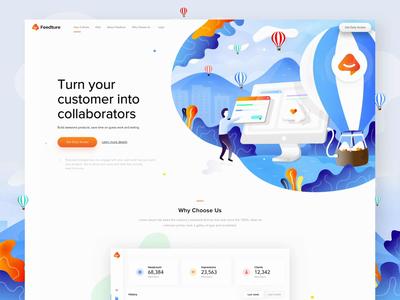 Feedture app - landing page, illustrations, logo, animation