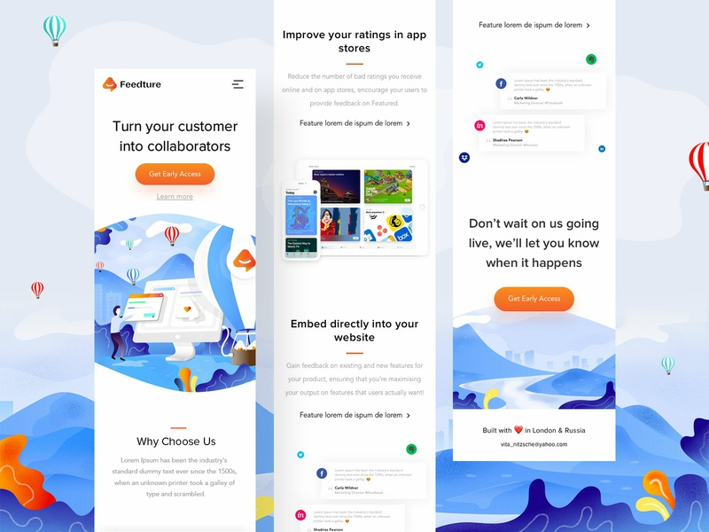 Feeduture app landing page - Mobile illustrations illustration mobile responsive uiux web ux userinterfacedesign design webdesign ui