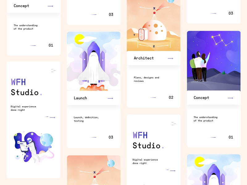 WFH Studio Illustrations - Mobile graphicdesign illustration vector ui webdesign design userinterfacedesign uiux ux mobile ui illustrations