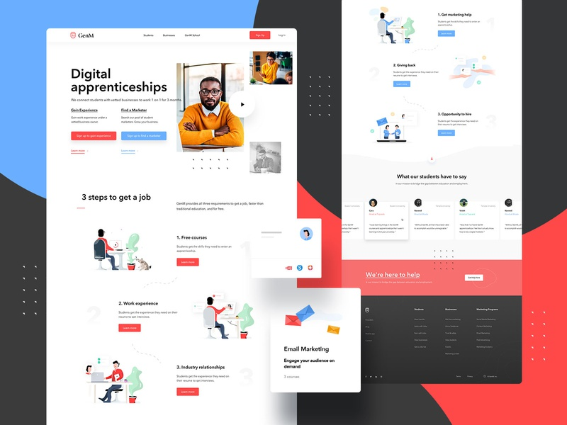 GenM Landing Page Design + Illustrations webapp design education landingpagedesign illustrations illustration landingpage webdesigner web userinterfaces ui ux uiux userinterfacedesign design webdesign