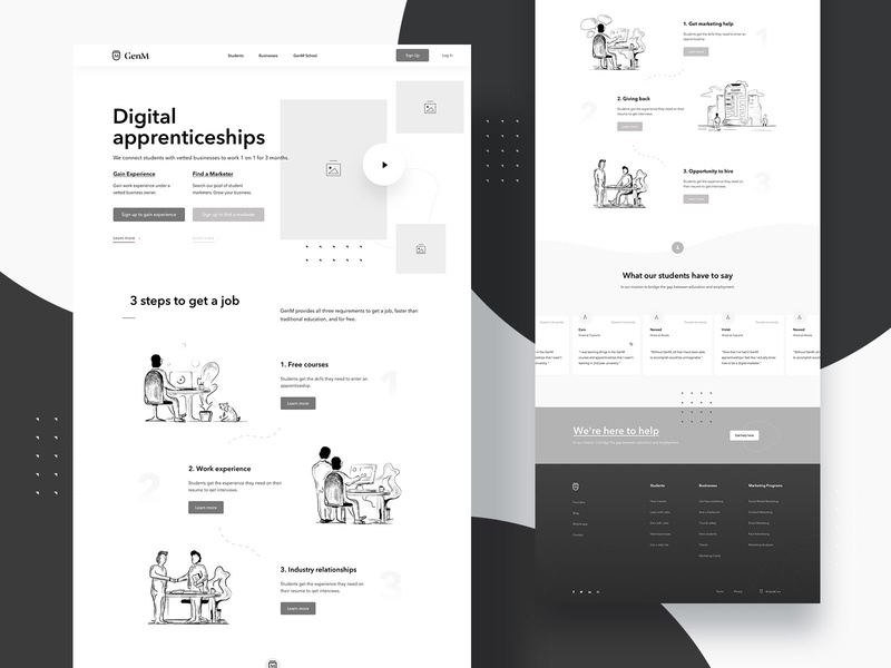 High fidelity wireframes + Sketches - GenM creative direction creative  design creative agency creativity creative process flow process creative process illustrations landingpage web uiux ux design webdesign