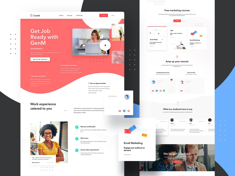 GenM Students Landing Page + Illustrations webdesigner landingpage userinterfaces web ux uiux userinterfacedesign design webdesign ui