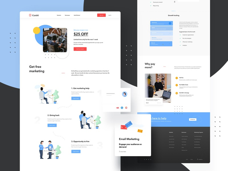 GenM Business Landing Pages + Illustrations illustration landingpage illustrations design web uiux ux userinterfacedesign webdesign ui