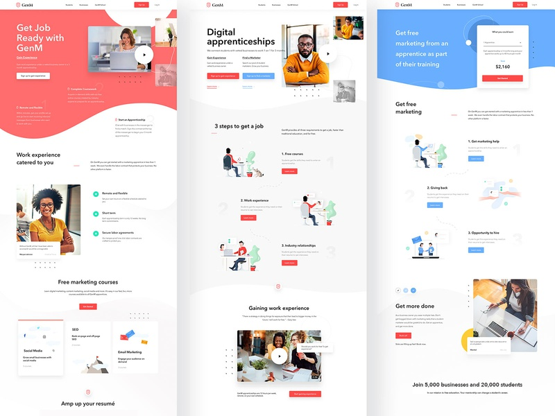 GenM Project - UI / UX Design + Illustrations landingpagedesign illustrations landingpage userinterfaces web uiux ux userinterfacedesign webdesign ui
