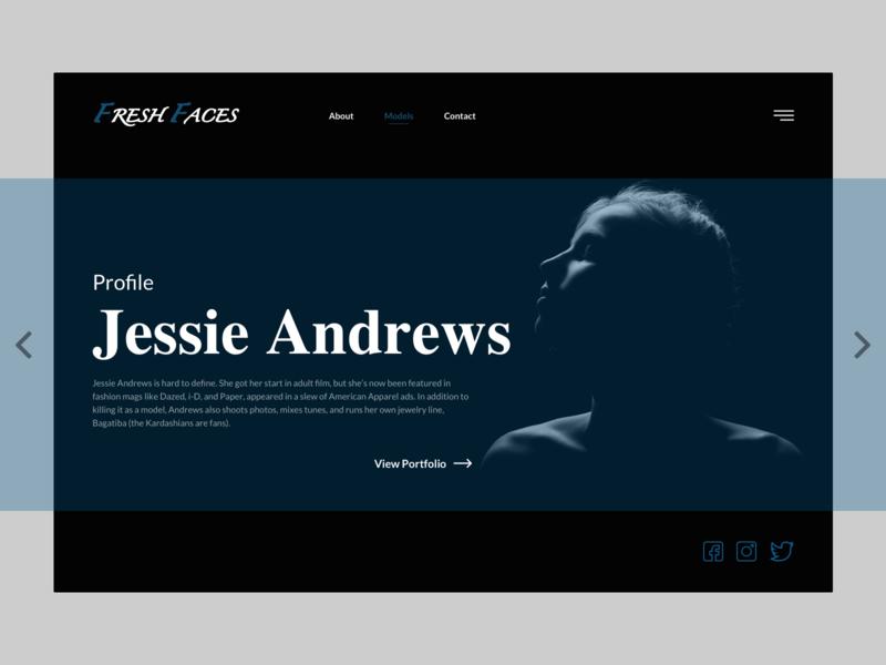 Fresh Faces-Model Profile UI design minimalism social icons profile model design ui