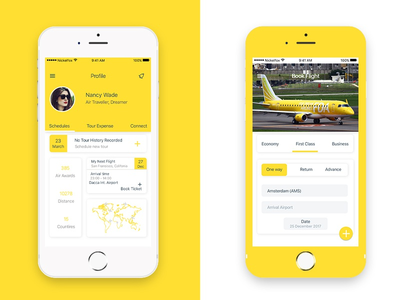 Flight Booking App gif animation principle plane ux ui iphone mobile android ios app booking