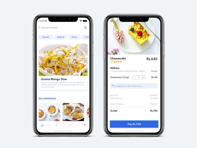 Food Order App ios 10 favorite-dish payment  process ui  ux design food ordering app