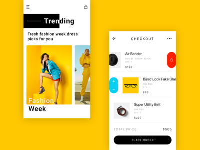 Fashion Product yellow minimal app add to cart ios design app branding ecommerce placeorder chekout fashion ui  ux