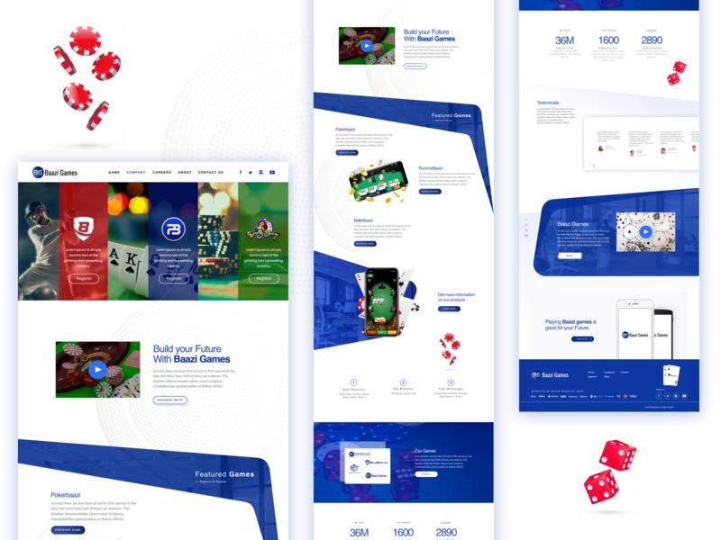 Baazi Games: Homepage rummy blue and white casinokart rummybaazi ballebaazi pokerbaazi game website gamelandingpage casino cricket poker uiuxdesign