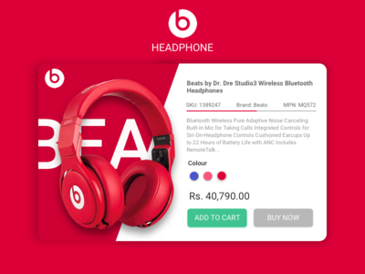 Beats Headphone wireless website ux ui product page headphone red apple