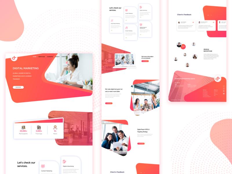 Digital Marketing Website layouts home page minimal landing page ui  ux digital marketing agency website
