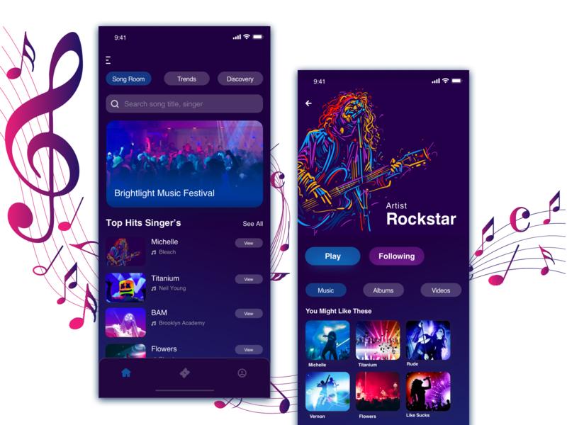 Music App color collision music album rockstar ios uiux singer profile