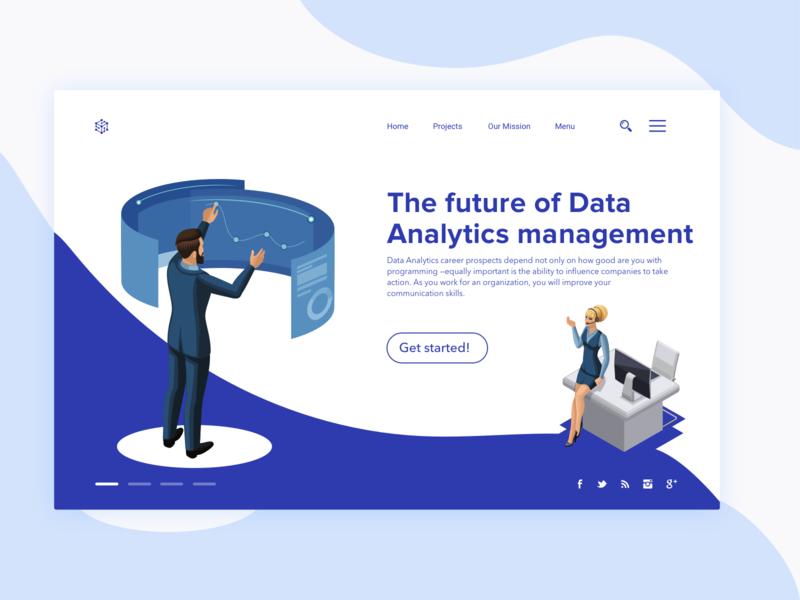 Data Analytics Management developement business webpage vector design illustration ux ui
