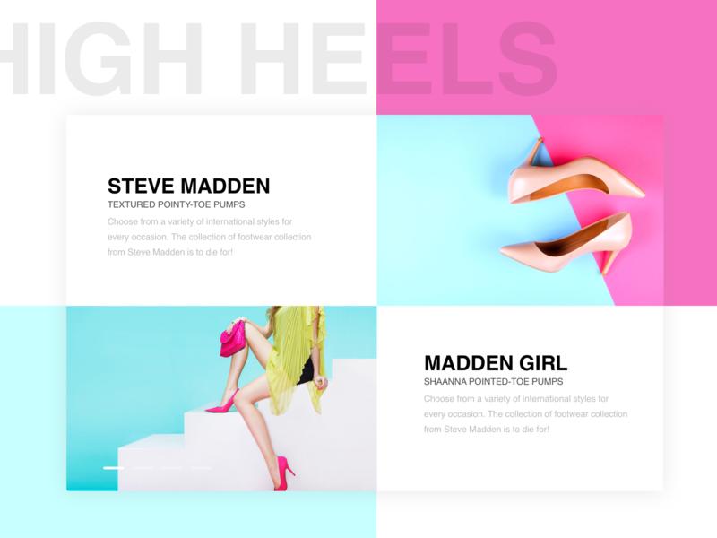 Minimal Fashion Section minimalism colorful design webpage high heels section ecommerce ui