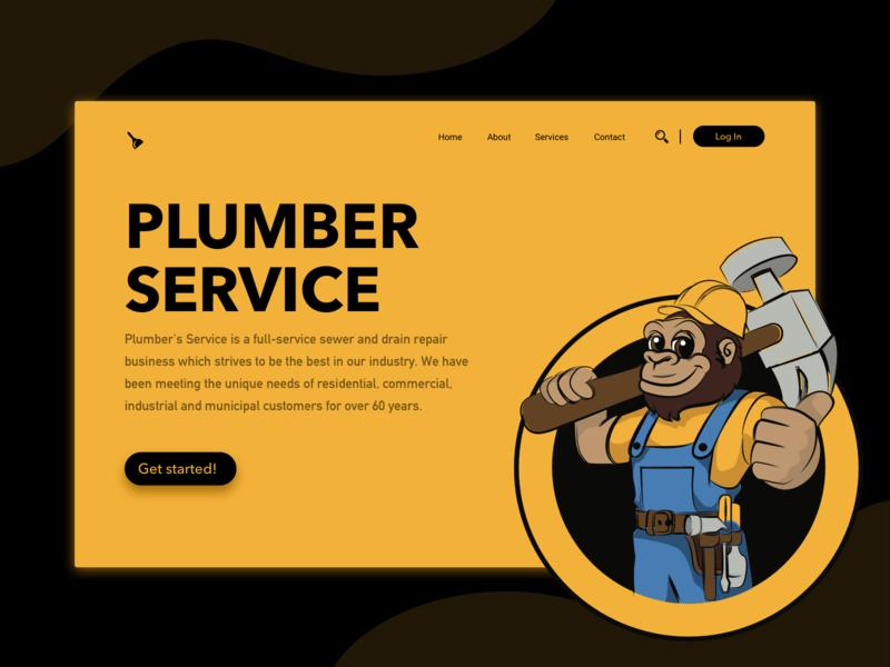 Plumber service vector illustration landingpage services design uiux