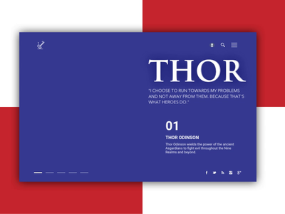 Thor - The God of Thunder webpage marvel sketch endgame avenger principle ux animation ui